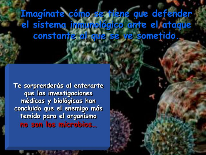 Imagínate cómo se tiene que defender el sistema inmunológico ante el ataque constante al que se ve sometido.