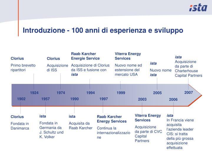 Introduzione - 100 anni di esperienza e sviluppo