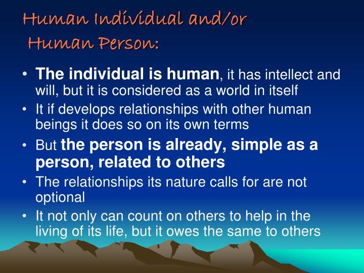 Human Individual and/or