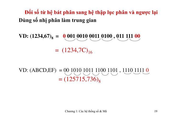 Đổi số từ hệ bát phân sang hệ thập lục phân và ngược lại
