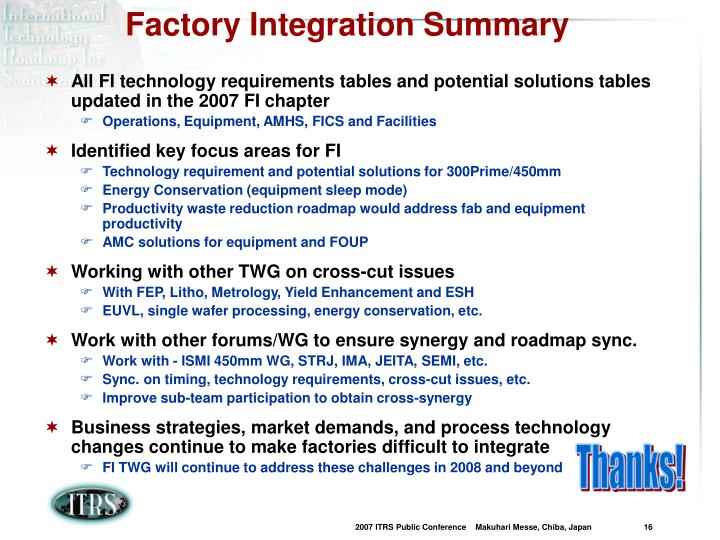 Factory Integration Summary