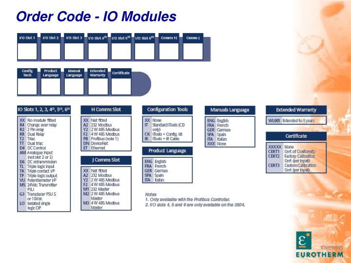 Order Code - IO Modules