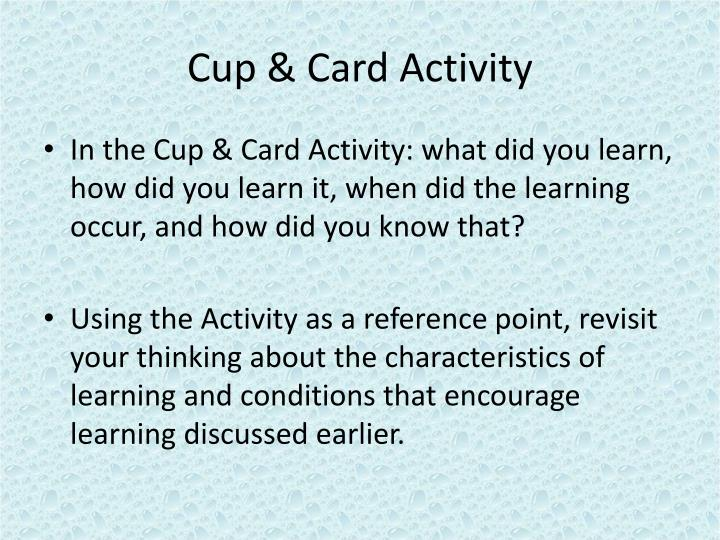 Cup & Card Activity