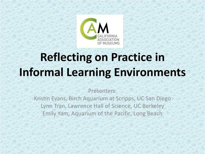 Reflecting on practice in informal learning environments