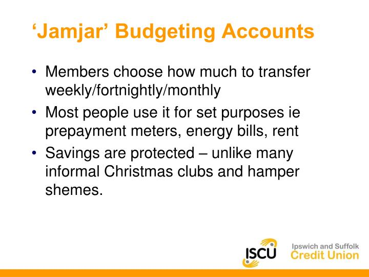 'Jamjar' Budgeting Accounts