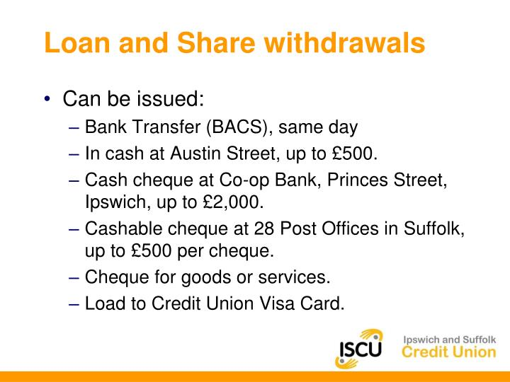 Loan and Share withdrawals