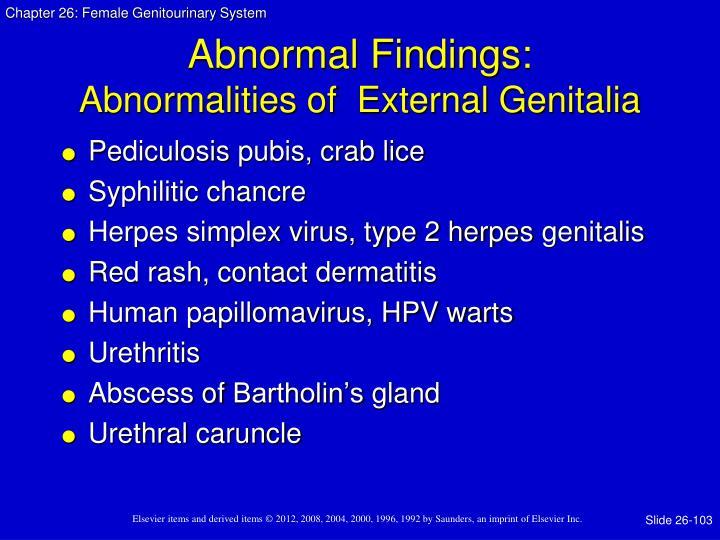 Abnormal Findings:
