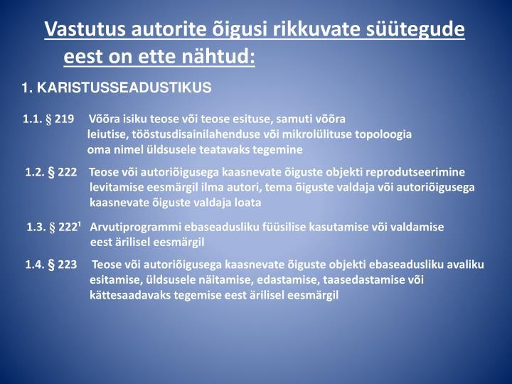 1. KARISTUSSEADUSTIKUS
