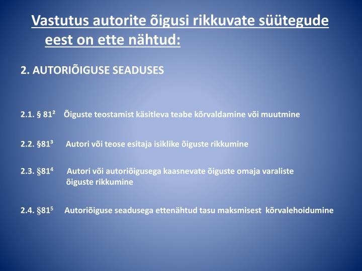 2. AUTORIÕIGUSE SEADUSES