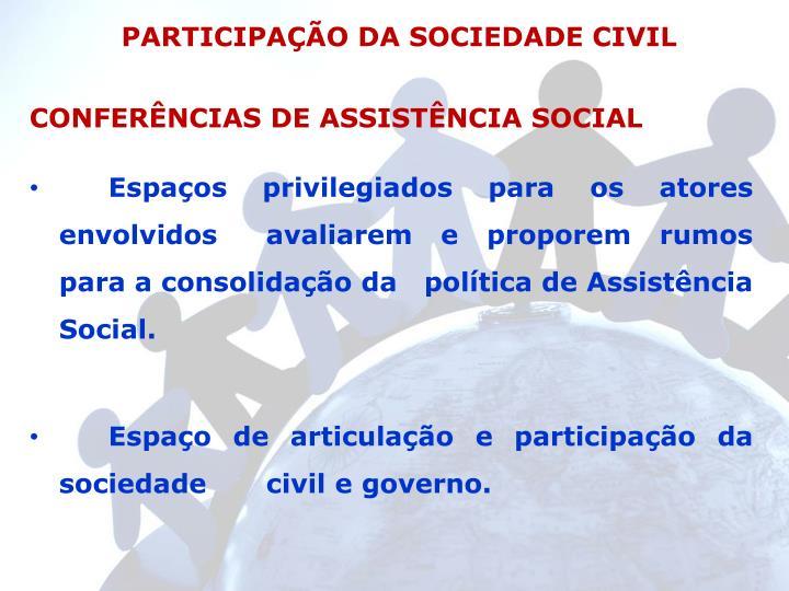 PARTICIPAÇÃO DA SOCIEDADE CIVIL