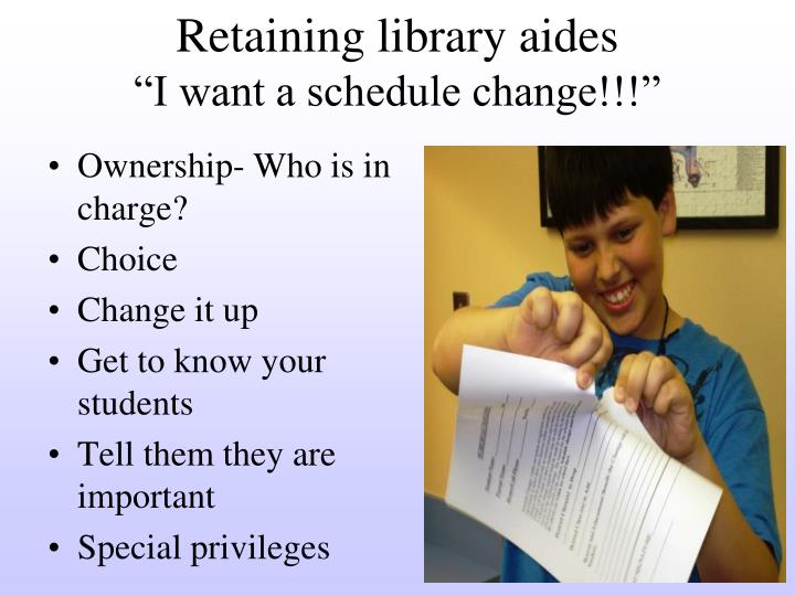Retaining library aides