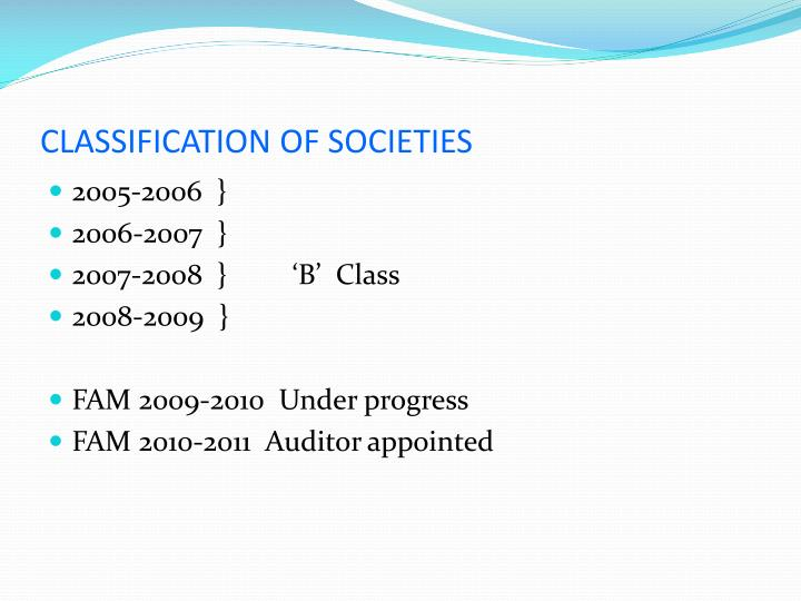 CLASSIFICATION OF SOCIETIES