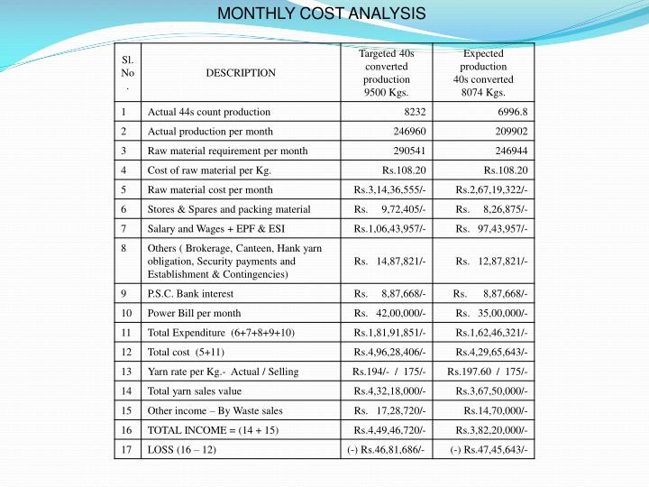 MONTHLY COST ANALYSIS