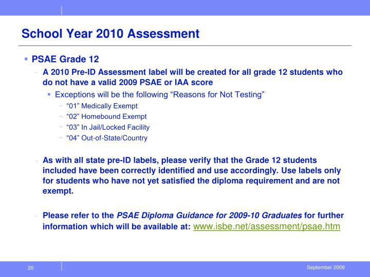 School Year 2010 Assessment