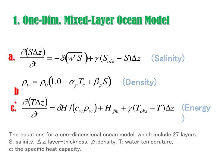 1 one dim mixed layer ocean model