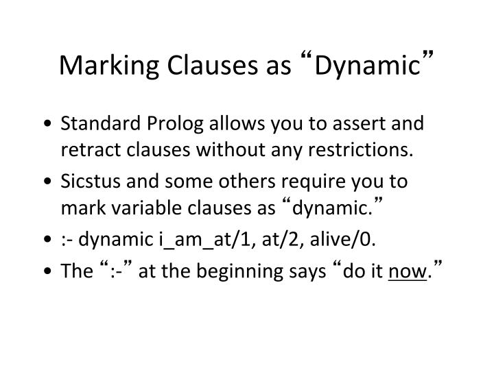 Marking Clauses as
