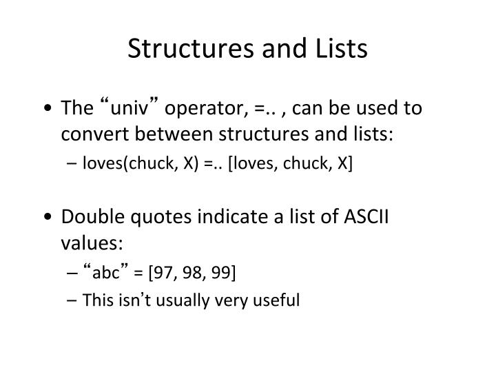 Structures and Lists