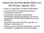 experiencia de peter baleke kayiira con 401 familias uganda 2012