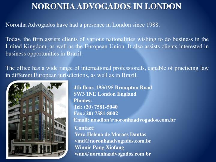 NORONHA ADVOGADOS IN LONDON