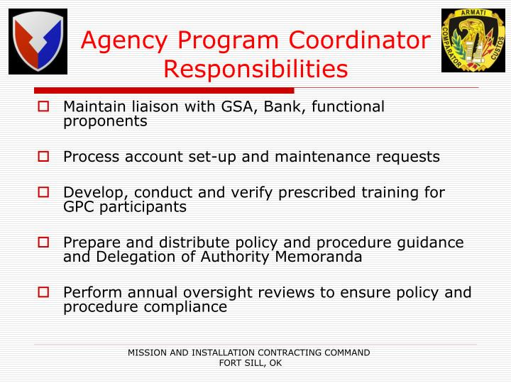 Agency Program Coordinator Responsibilities