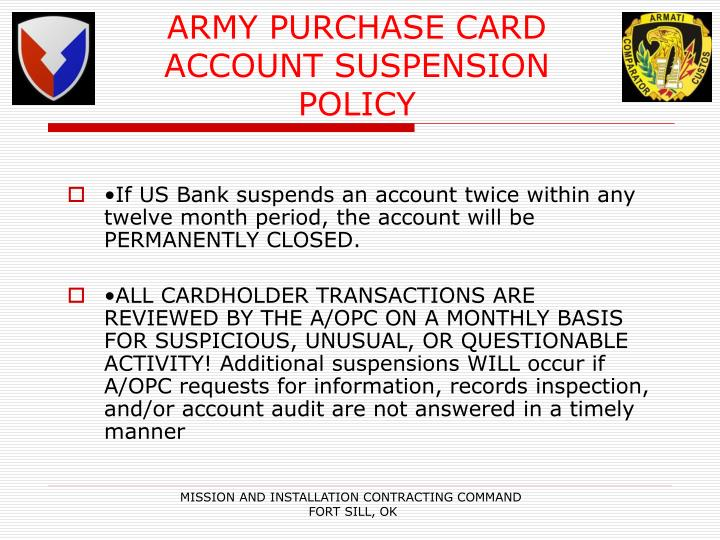 ARMY PURCHASE CARD
