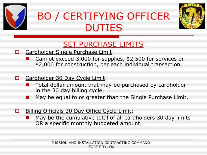 BO / CERTIFYING OFFICER