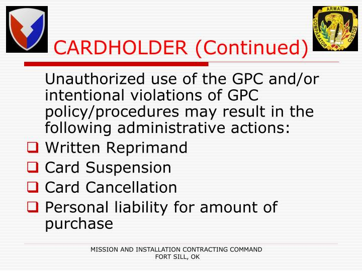 CARDHOLDER (Continued)