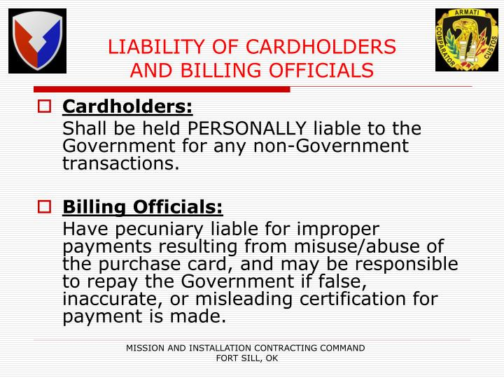LIABILITY OF CARDHOLDERS