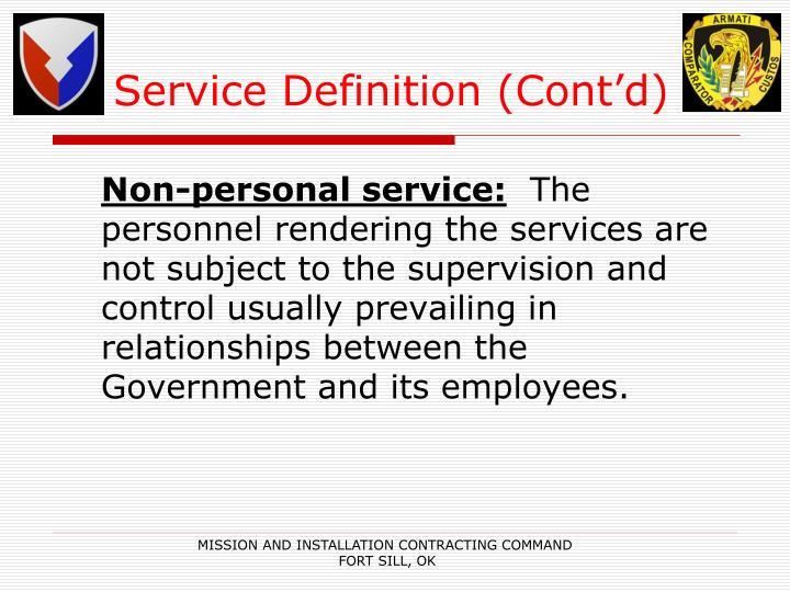 Service Definition (Cont'd)