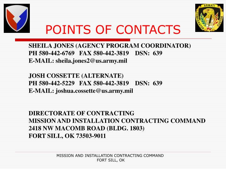 POINTS OF CONTACTS
