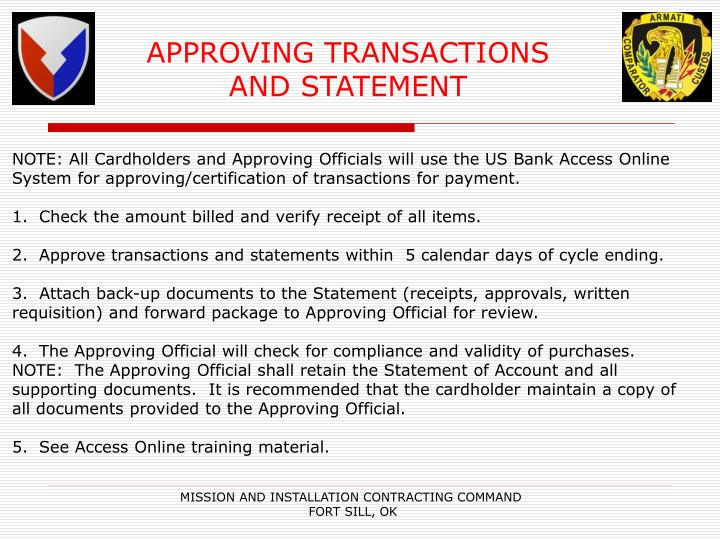 APPROVING TRANSACTIONS