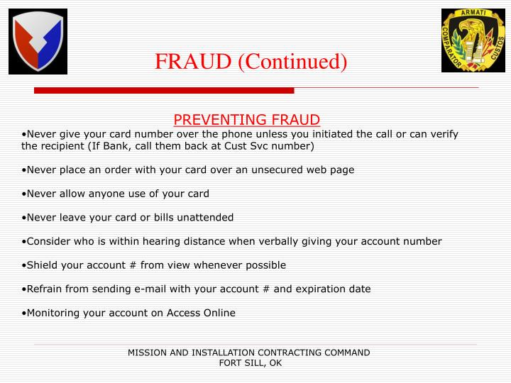 FRAUD (Continued)