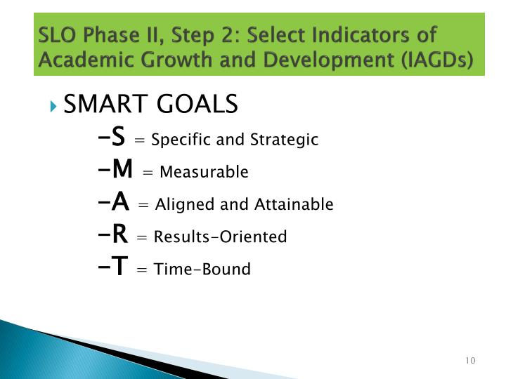 SLO Phase II, Step 2: Select Indicators of Academic Growth and Development (IAGDs)