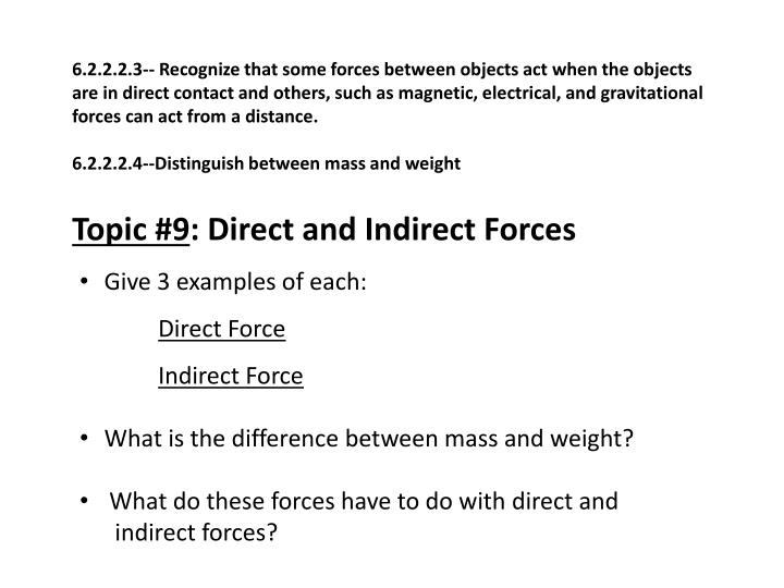 6.2.2.2.3-- Recognize that some forces between objects act when the objects are in direct contact and others, such as magnetic, electrical, and gravitational forces can act from a distance