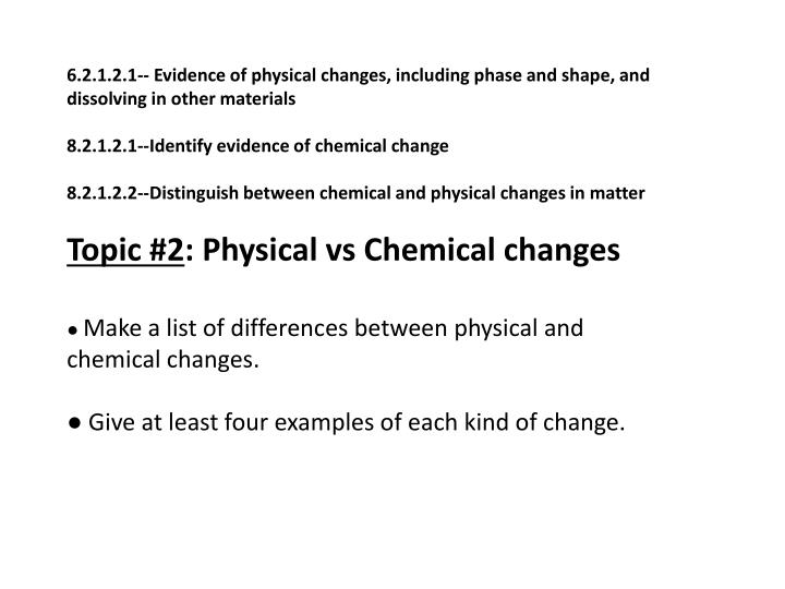 6.2.1.2.1-- Evidence of physical changes, including phase and shape, and dissolving in other