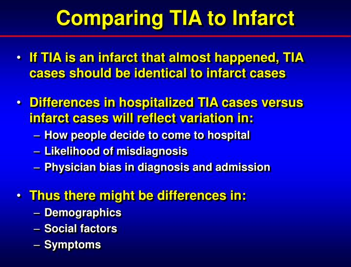 Comparing TIA to Infarct