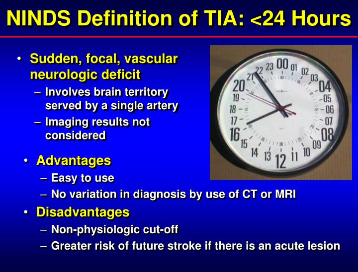 NINDS Definition of TIA: <24 Hours