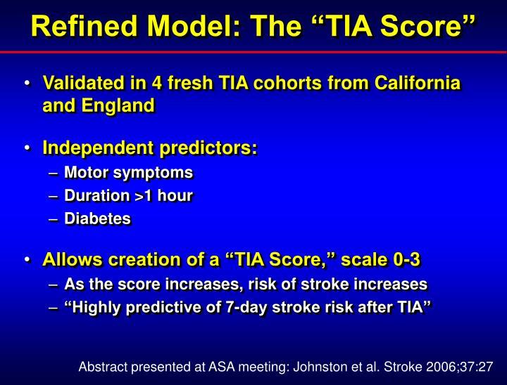 """Refined Model: The """"TIA Score"""""""