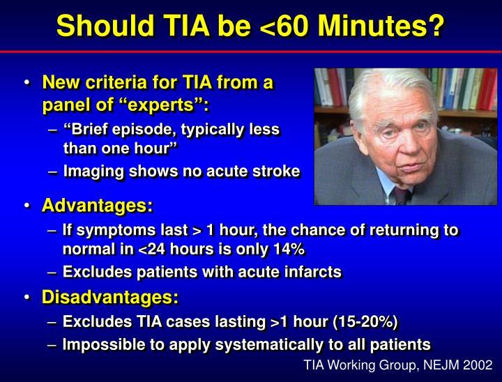 Should TIA be <60 Minutes?