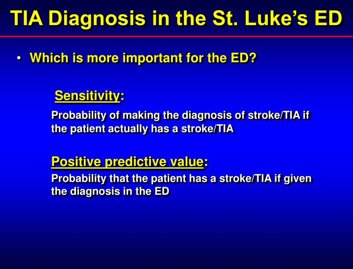 TIA Diagnosis in the St. Luke's ED