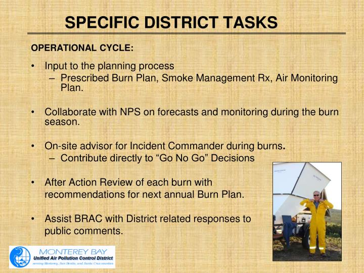 SPECIFIC DISTRICT TASKS