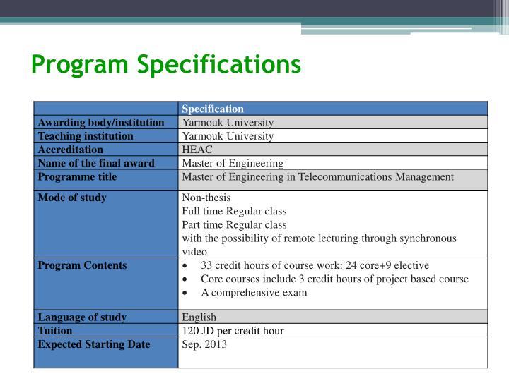 Program Specifications