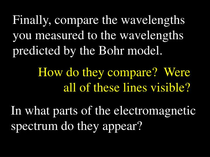 Finally, compare the wavelengths you measured to the wavelengths predicted by the Bohr model.