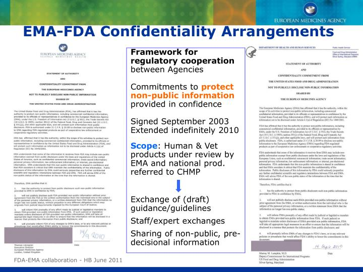 EMA-FDA Confidentiality Arrangements