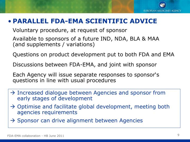 PARALLEL FDA-EMA SCIENTIFIC ADVICE