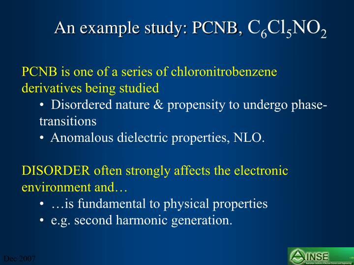 An example study: PCNB,