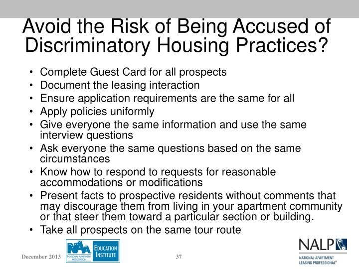 Avoid the Risk of Being Accused of Discriminatory Housing Practices?