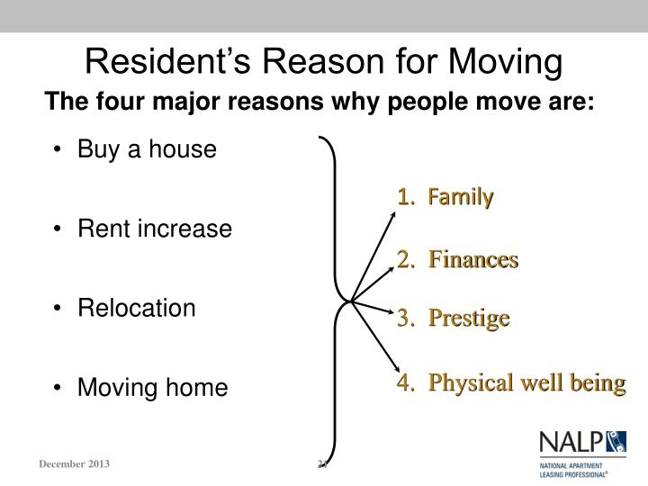 Resident's Reason for Moving