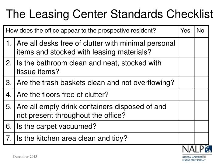 The Leasing Center Standards Checklist