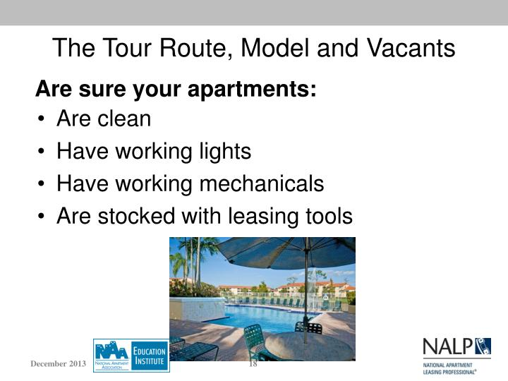 The Tour Route, Model and Vacants
